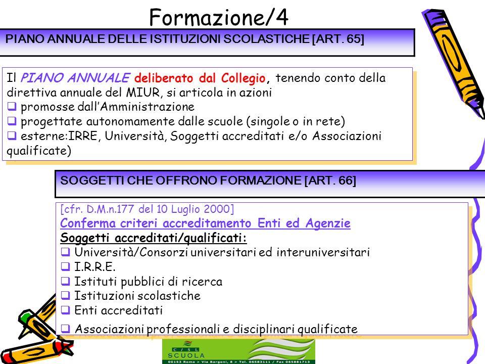 Formazione/4 PIANO ANNUALE DELLE ISTITUZIONI SCOLASTICHE [ART. 65]